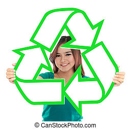 Asian young woman holding recycle sign over white background