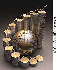 Business World - Globe surrounded by coins made of gold and...