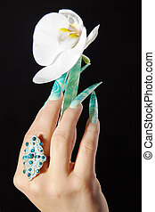 stiletto fingernails with orchid