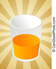 Glass of orange juice, beverage in cup, illustration