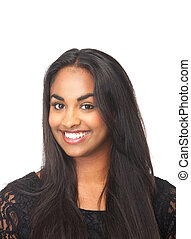 Portrait of a happy young woman smiling - Closeup portrait...