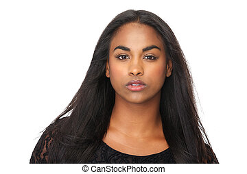 Portrait of young woman with beautiful long black hair -...