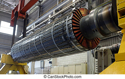 Rotor engine at a workshop - Industrial Rotor machinery at a...