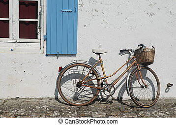 bike - bicycle along a house in France island of Aix