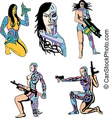 Women Cyborgs. Set of color vector illustrations....