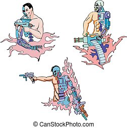 Cyborgs. Set of color vector illustrations. Biomechanics...