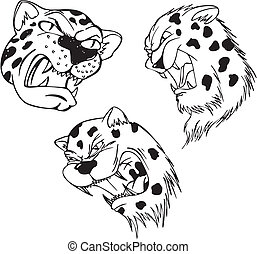 Aggressive leopard heads. Set of black and white vector...