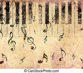 Vintage piano background - Grunge illustration of vintage...