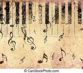 Vintage piano background - Grunge illustration of vintage...