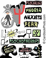 doodle concept psychology, psychotherapy and psychoanalysis