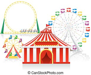 circus tent and attractions vector illustration
