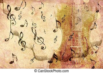 Vintage violin background - Grunge illustration of vintage...