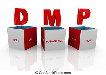 3d box of dmp - debt management plan - 3d illustration of...