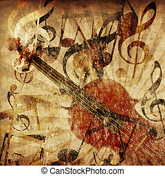 Vintage violin background - Grunge illustration of vintage...