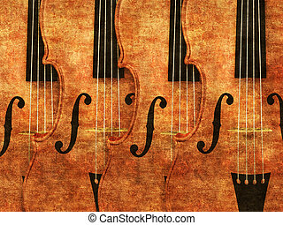 Violins in a row - Grunge illustration of 3d violinds in a...
