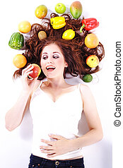 woman loves fruits