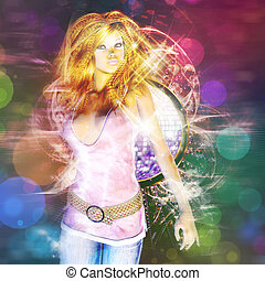 Beautiful dancing girl - Glowing party background with...