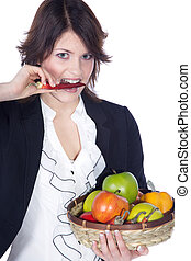 women nibbling fruit