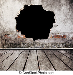 Broken Wall With Wood Floors Use  For Scary Background
