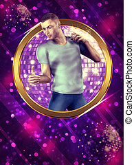 Dancing guy and disco ball - Illustration of 3d man dancing...
