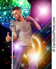 Dancing guy with microphone - Illustration of 3d man dancing...