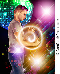 Dancing guy - Illustration of 3d man dancing on disco party