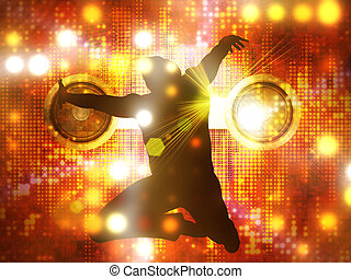 Dancing male silhouette - Jumping, dancing male silhouette...