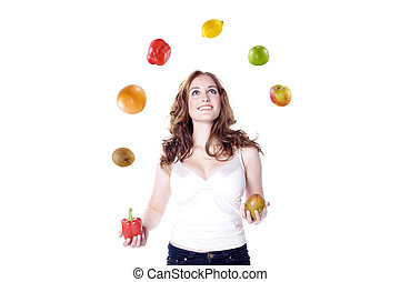 woman juggling fruit and vegetables