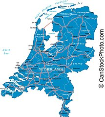 Holland map - Highly detailed vector map of Holland with...