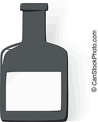 Vector bottle with label on white background