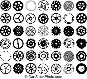 Vector set of silhouettes of gears and other round objects -...