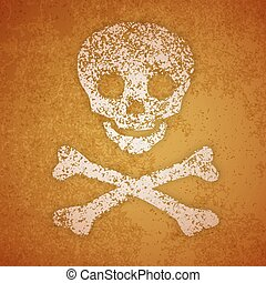 Vector illustration - skull and crossbones on a wall