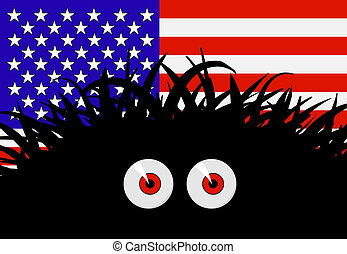 Unknown threat to the United States of America - comic vector illustration with flag and black red-eyed monster