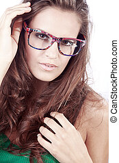 business women in glasses looks sensual