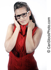 business woman with glasses