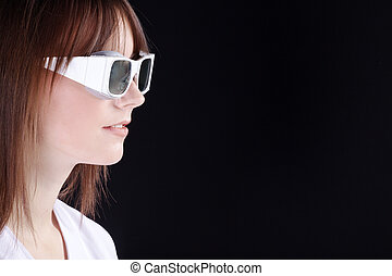 woman with laser safety goggles