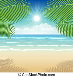 Background sea sand and coconut trees. Illustration summer.