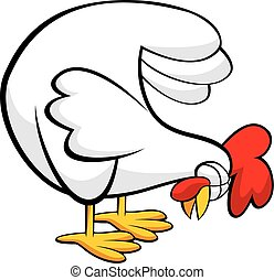 Another Chicken - Vector illustration of a chicken pecking.