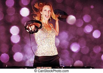 sexy, donna, DJ, vinile, disco