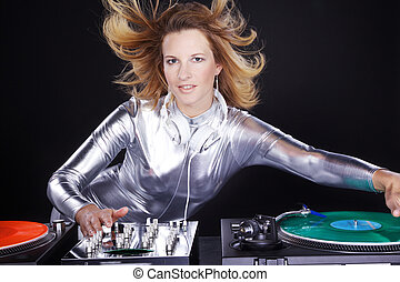 sexy woman DJ with vinyl disk