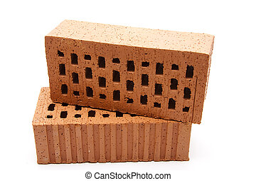 Red brick stone   -  Red brick stone with white background