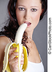 sexo, vende, mulher, comer, banana