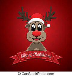 reindeer hat ribbon merry christmas