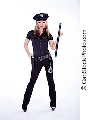 sexy woman in police costume