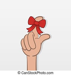 Finger Reminder - Finger with tied red bow as a reminder