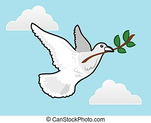 Dove Peace - Dove flying with olive branch representing...