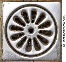 Old shower drain - Old dirty shower drain close-up