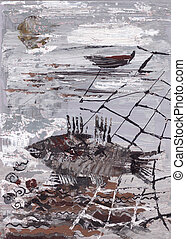 seascape with fish and network