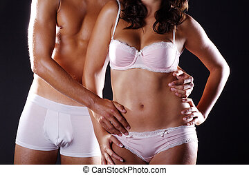couple in love in underwear