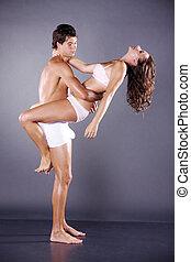 couple in love in underwear